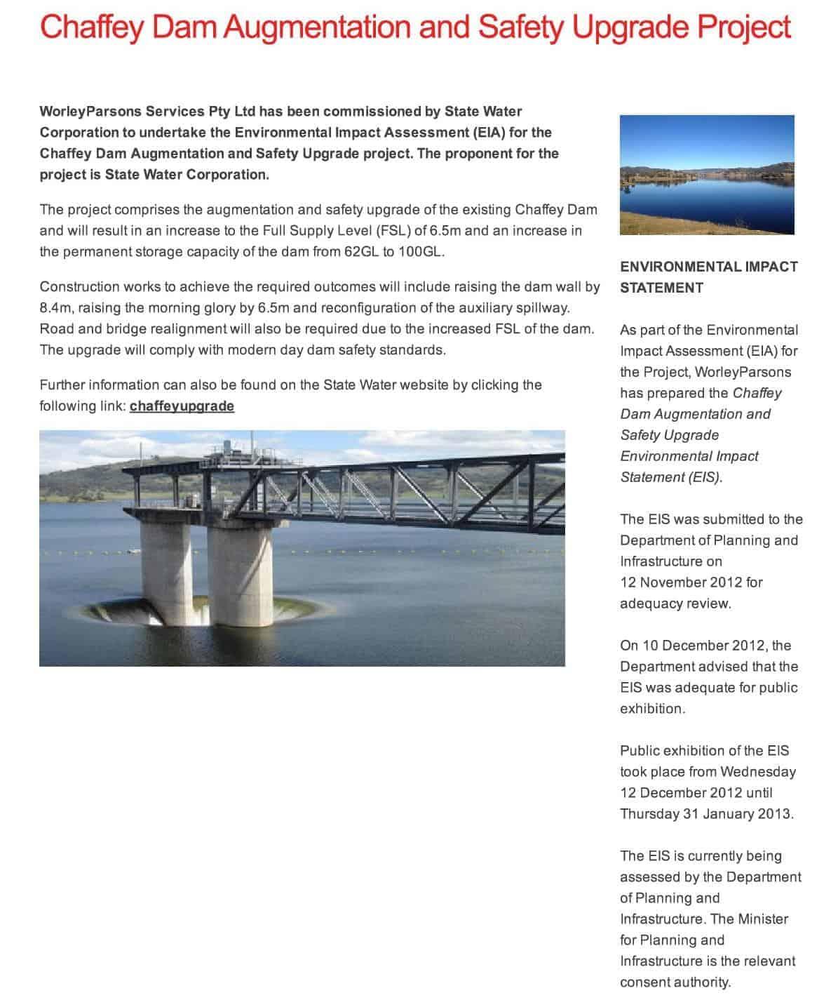 Chaffey Dam Augmentation and Safety Upgrade Projectb