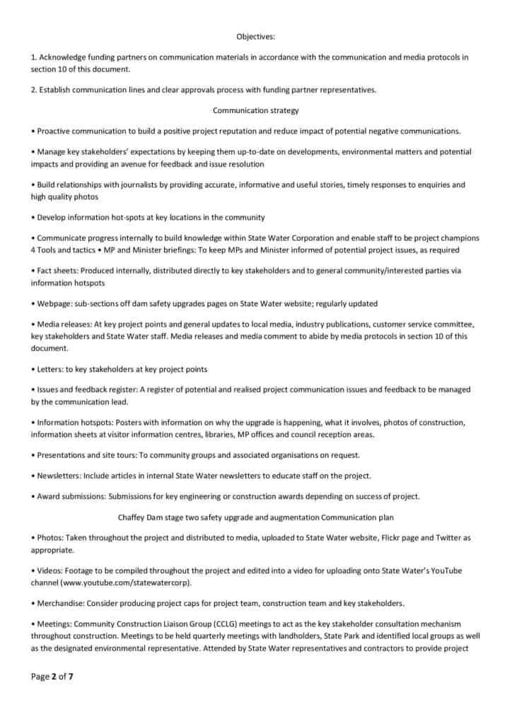 Chaffey Dam Communication Strategy2