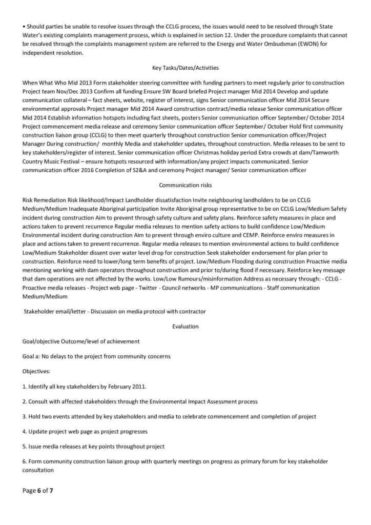 Chaffey Dam Communication Strategy6