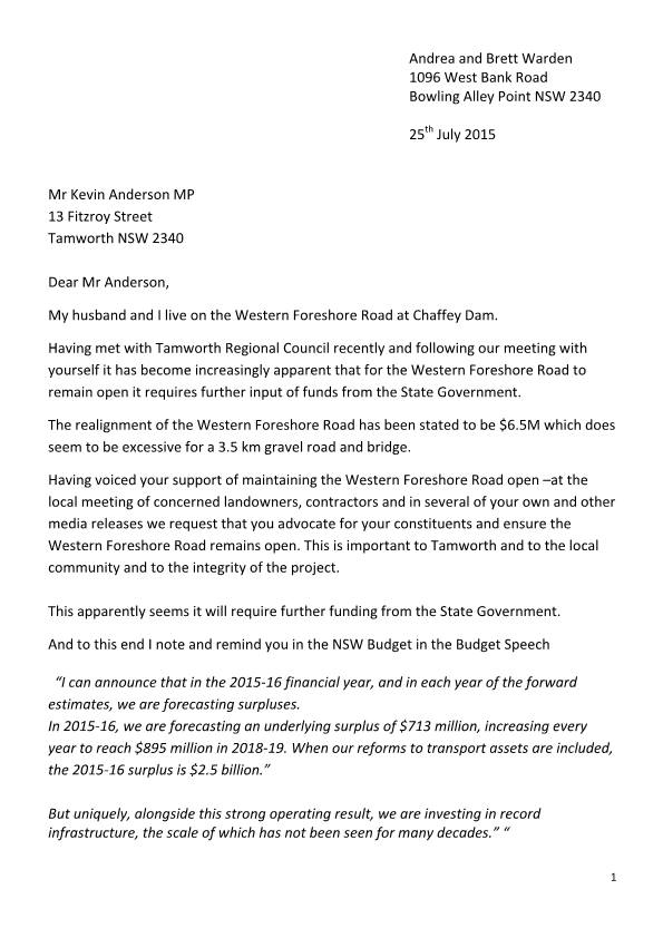 letter to kevin anderson from ratepayer