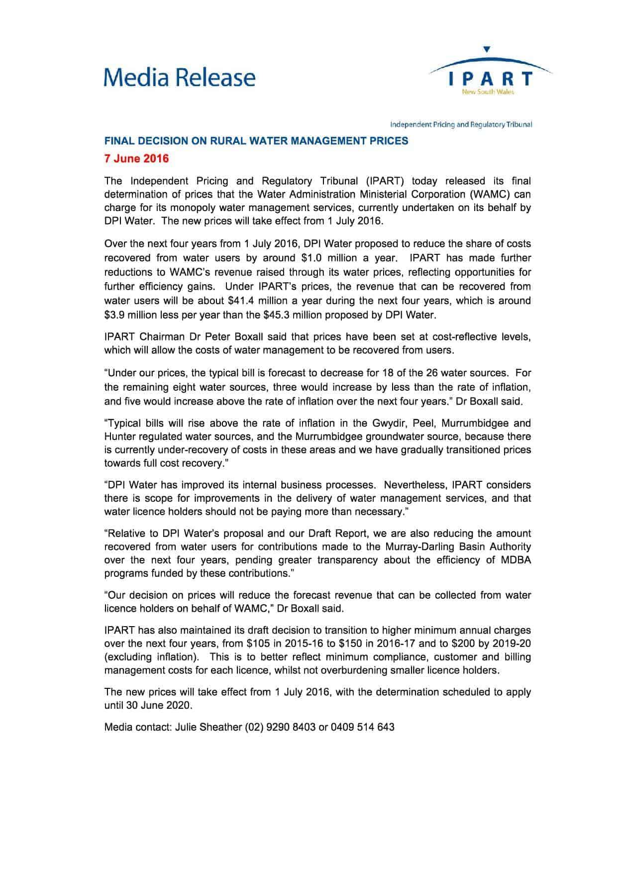 media_release_-_final_decision_on_rural...er_management_prices_-_7_june_2016